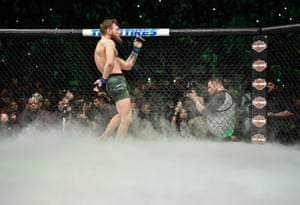 Conor McGregor enters the Octagon before facing Khabib Nurmagomedov.