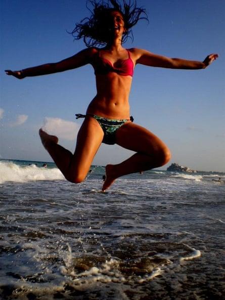 girl in bikini in the sea at Peniscola , near Valencia Spain in 2010