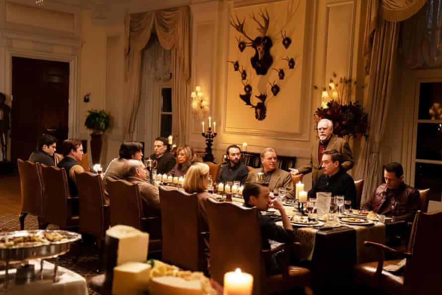 The cast of Succession in a dinner party scene in the 'Boar on the Floor' episode