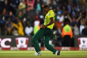 Ngidi celebrates dismissing Moeen for five.