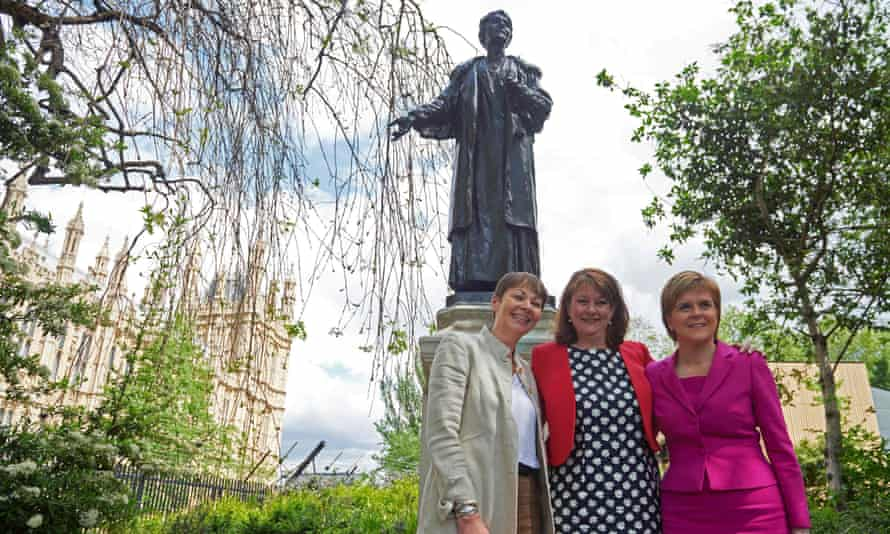 Nicola Sturgeon, Leanne Wood and Caroline Lucas near the Emmeline Pankhurst statue. More statues of women are planned, including one to honour Mary Barbour who led the Glasgow rent strikes.
