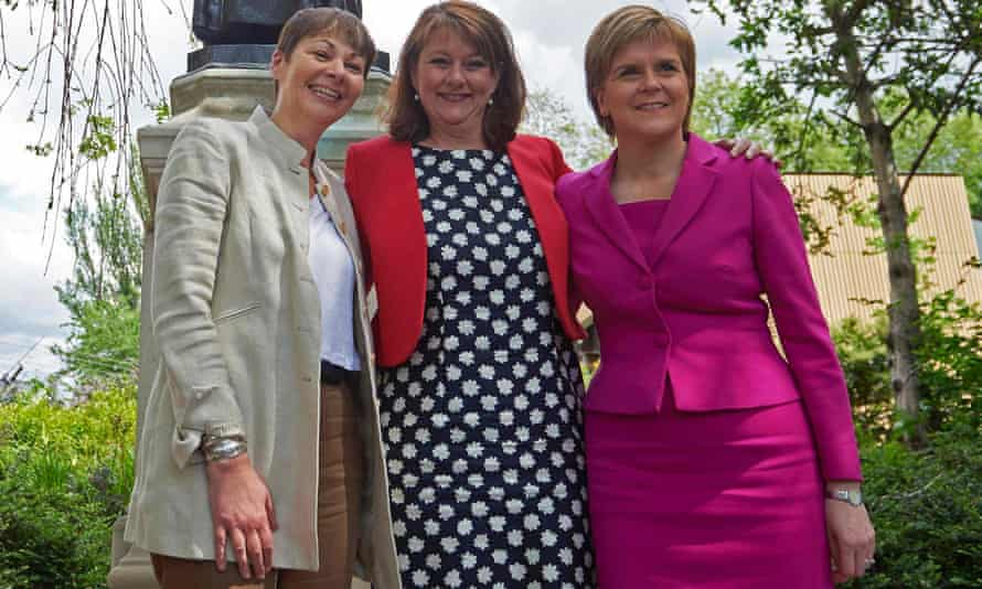 Leader of the SNP, Nicola Sturgeon (right) with Plaid Cymru leader Leanne Wood (centre) and Caroline Lucas, co-leader of the Greens. Their three parties could be joined on this issue by some Labour MPs.