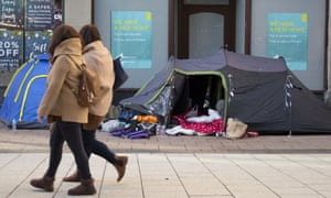 Tents on a street in Cardiff