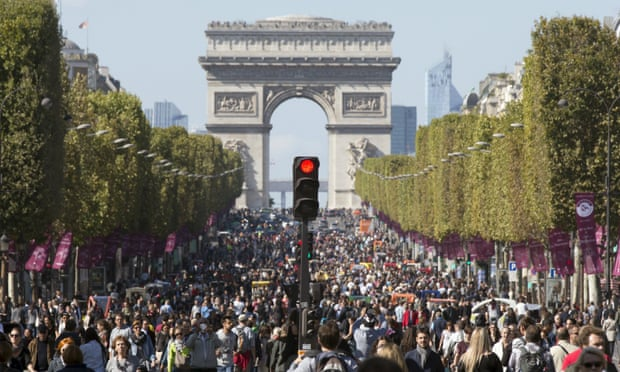 People on the Champs-Élysées in September when central Paris went car-free for a day.