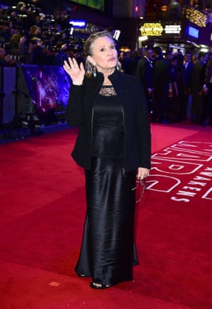 Carrie Fisher acknowledges the crowds