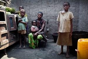 Basomboli Bolese with four of her children in the village of Yatutu, near Isangi