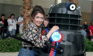 Deborah Watling with a Dalek at a fans' convention in 2005.