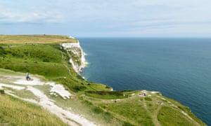 The coastal path over the white cliffs near Dover.