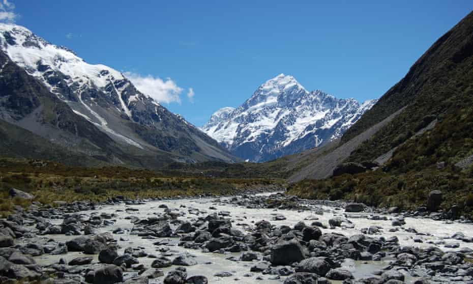 Snow around Mount Cook in New Zealand.