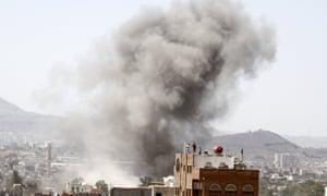 Smoke rises from the site of a Saudi-led airstrike in Yemen's capital, Sanaa