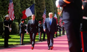 President Donald Trump and French President Emmanuel Macron attend a French-American commemoration ceremony for the 75th anniversary of D-Day at the American cemetery of Colleville-sur-Mer in Normandy