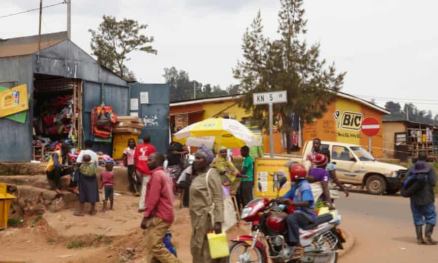 A busy corner in Rwanda's capital city, Kigali.