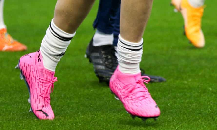 Jen Beattie's pink boots, worn to help raise awareness for breast cancer