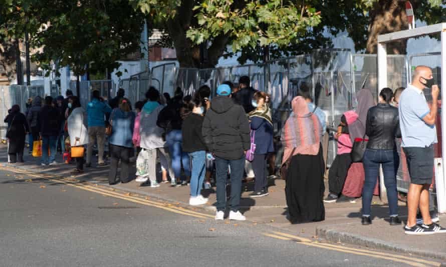 A queue outside a Covid-19 test centre in Edmonton, north London