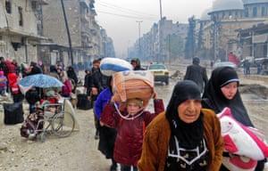 People fleeing Bustan al-Qasr arrive in Fardos neighbourhood