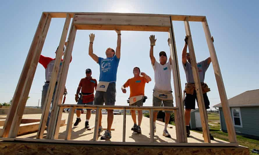Volunteers working for Habitat for Humanity
