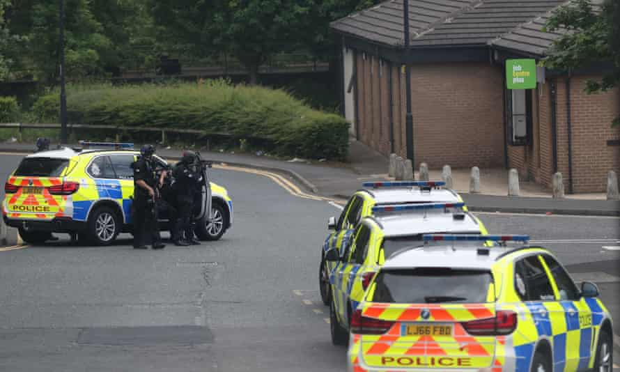 Police at the scene in Byker, Newcastle upon Tyne