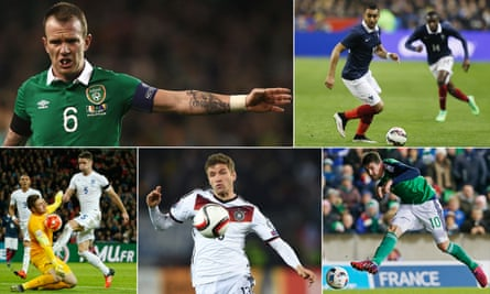 Clockwise, from top left: Glenn Whelan, Dimitri Payet, Kyle Lafferty, Thomas Müller, and England's Gary Cahill and Jack Butland … all set to figure in the coming days.