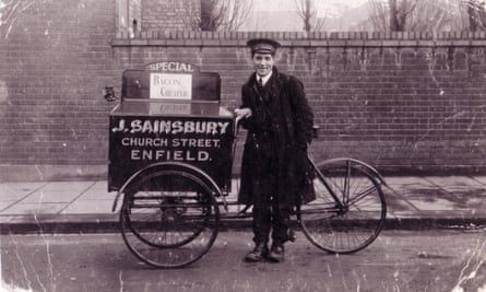 Harry Webb, a delivery boy for Sainsbury's, with his tricycle in 1913.