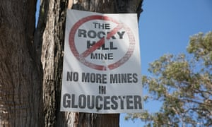 A sign protesting the Rocky Hill mine in the small country town of Gloucester