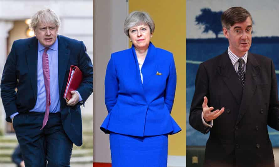 The prime minister, Theresa May, flanked by the leading Brexiters Boris Johnson and Jacob Rees-Mogg