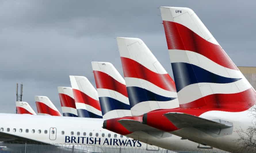 A line of British Airways planes