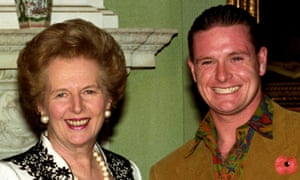 Margaret Thatcher with Paul Gascoigne from England's World Cup squad.