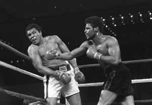 Spinks connects with a right hook to Muhammad Ali during the late rounds of their championship fight in Las Vegas. The then-24-year-old Spinks won the bout in a 15-round decision.