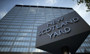 The sign outside New Scotland Yard, the headquarters building of London's Metropolitan Police force in central London.