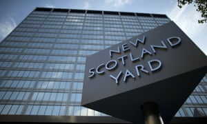 New Scotland Yard in central London, the headquarters of the Metropolitan police.