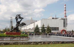 Ukrainians gather outside the Chernobyl plant to mark the 32nd anniversary of the disaster on 26 April 2018.