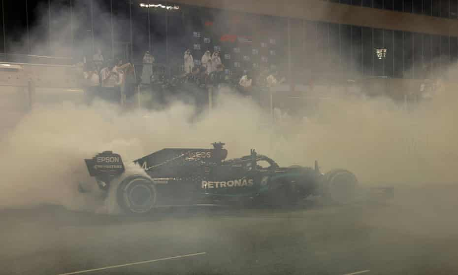 Lewis Hamilton did some donuts for the fans after the race.