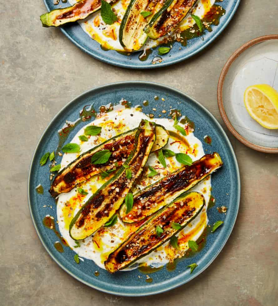 Yotam Ottolenghi's grilled courgettes, warm yoghurt and saffron butter.