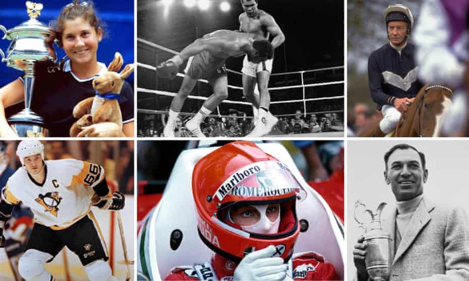 Famous sporting comebacks: (Top row L-R) Monica Seles, Muhammad Ali, Lester Piggot; (Bottom row L-R)  Mario Lemieux, Niki Lauda, Ben Hogan