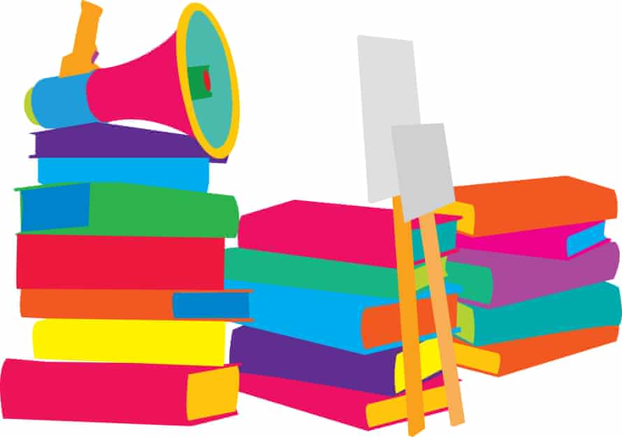 An illustration showing piles of books, against which are leaned protest placards and a megaphone on top.