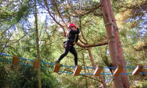 Girl on rope ladder walk in New Forest on Woodland Adventure Day