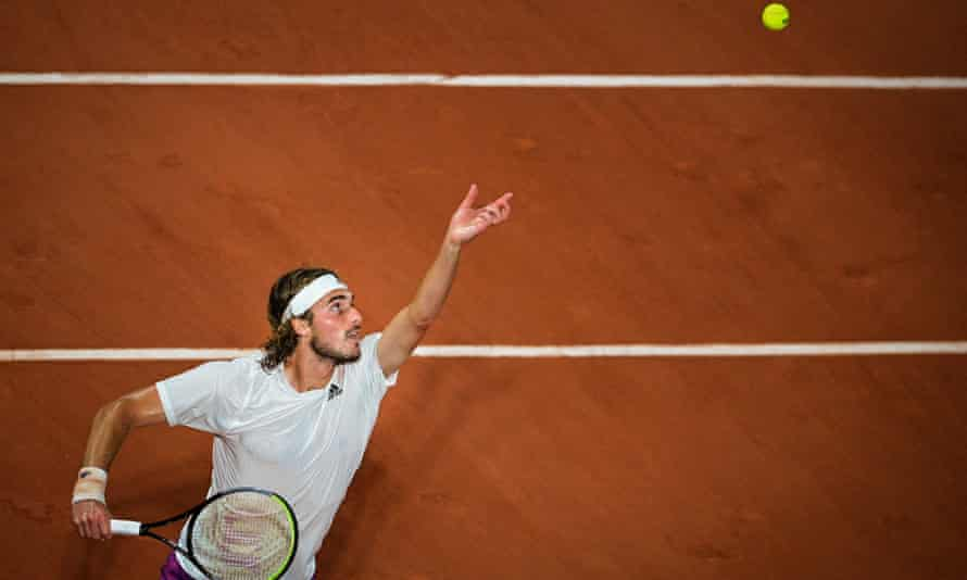 Stefanos Tsitsipas serves to Daniil Medvedev during a dominant French Open win over a player he had previously struggled to beat.