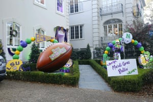 Decorations for Mardi Gras are seen in New Orleans, Louisiana