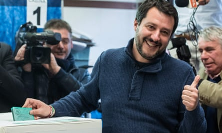 La Lega party leader Matteo Salvini gives the thumbs up as he votes in Sunday's election