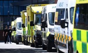 Ambulances outside the Royal London hospital in London, Britain.