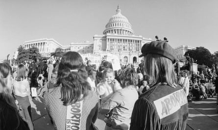 Anti-abortion demonstrators gather on the steps of the Capitol in Washington DC on the first anniversary of Roe v Wade, 22 January 1974.