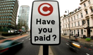 A London congestion charge sign - one of many contracts handled by outsourcing group, Capita.