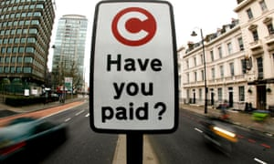a London congestion charge sign