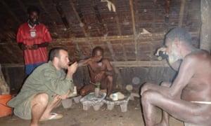 Michael Louzé drinking kava in Vanuatu.