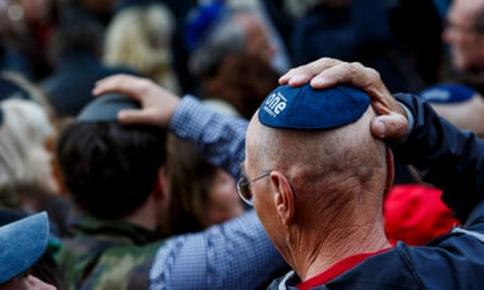 "Jews take part in the ""wear a kippah"" march to show solidarity for those subjected to antisemitic attacks."