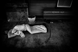 One of the homeless community in Byron Bay in New South Wales