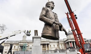 The statue of Sir Keith Park is removed from Trafalgar Square