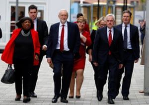 ritain's Labour Party leader Jeremy Corbyn and members of the shadow cabinet, arrive at the Labour Party Conference in Liverpool