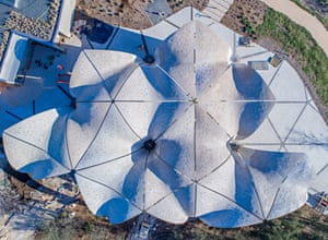 Confluence Park's concrete flower petal roof will gather rain water for reuse