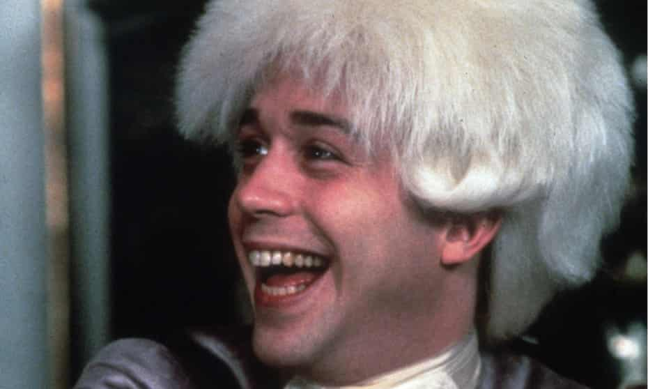 A delighted looking Tom Hulce as Mozart in 1984's Amadeus.